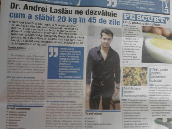 Ziarul Ring: Dr. Andrei Laslau ne dezvaluie cum a slabit 20 kg in 45 de zile
