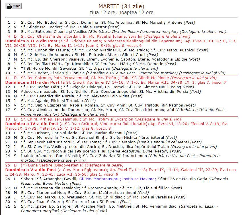 calendar crestin ortodox 2018 in ce data vom sarbatori pastele dar si alte sarbatori dr